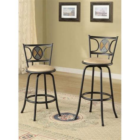 Counter Height Bar Stools With Backs Black Fininsh Circlular Design Back Adjustable Metal