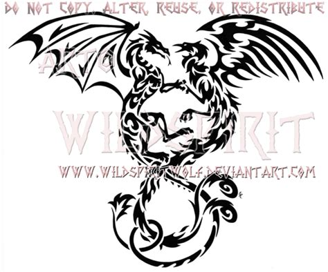 entwined dragon and phoenix tribal design by