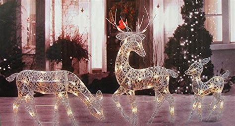 reindeer decorations 3 white glittered doe fawn and reindeer lighted