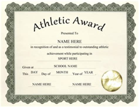 athletic certificate template free templates for high school award templates geographics