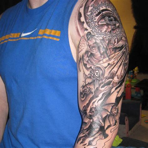 half sleeve angel tattoos for men half sleeve tattoos for versus demons 26