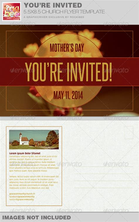 church invitation templates you re invited church flyer invite template graphicriver