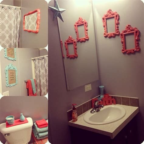 gray and coral bathroom bathroom makeover w coral teal gray bathroom ideas
