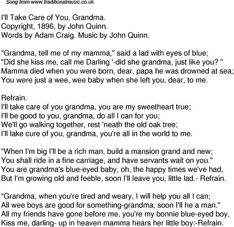 To Grandmother S House We Go Lyrics by Time Song Lyrics For 52 I Ll Take Care Of You
