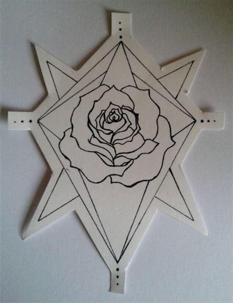 geometric tattoo temporary temporary tattoo geometric rose hand drawn design hand