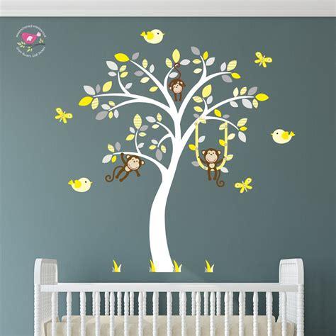grey jungle wallpaper monkey nursery wall art stickers