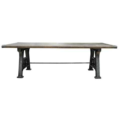Reclaimed Industrial Dining Table Boone Industrial Reclaimed Grey Wood Cast Iron 86 Quot Dining Table Kathy Kuo Home