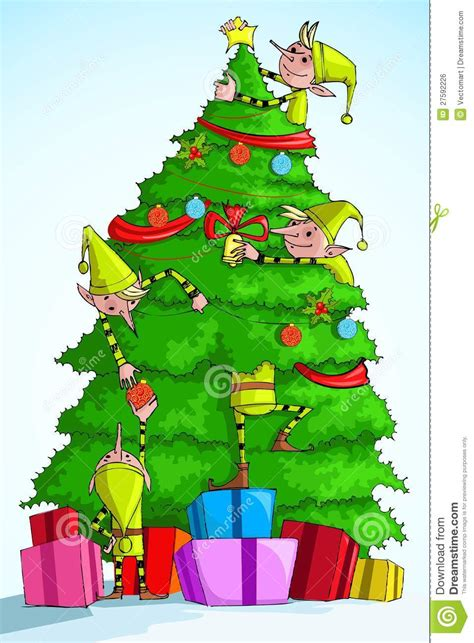 Elves Decorations - decorating tree stock vector image 27592226