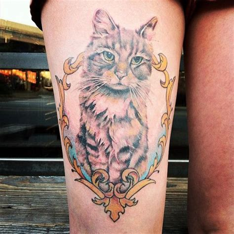 tattoo cat in frame 32 beautiful 3d leg tattoos