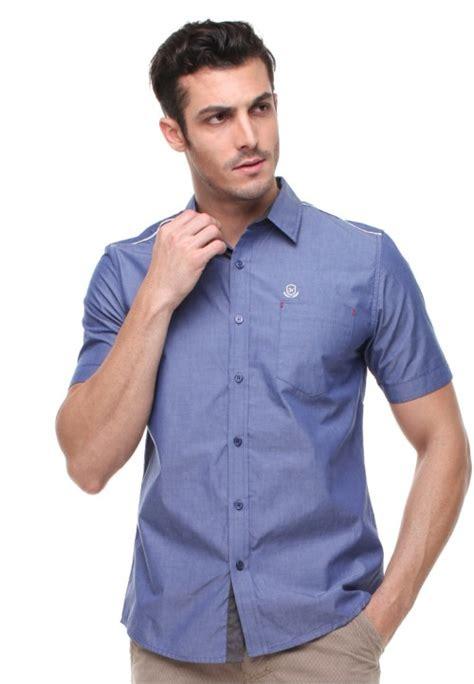 Kemeja Apparel Kasual Pria Biru Kombinasi Bahan Chambray R49g84b slim fit kemeja casual active logo johnwin biru