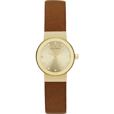 skagen freja s mini brown and gold leather skw2175