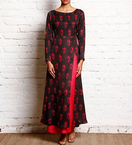 boat neck with front open front open long kurtis