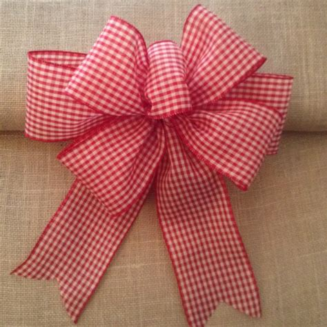 christmas gingham decorative bows red and white by