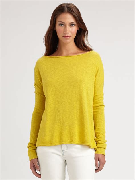 oversized boat neck sweater lyst vince oversized boat neck slub cotton sweater in yellow
