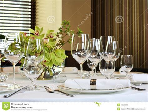 fancy place setting fancy dinner table set royalty free stock photography
