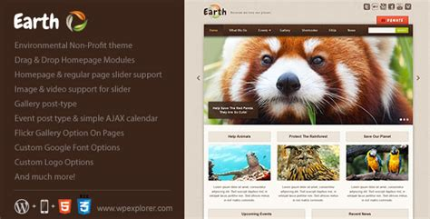themeforest nonprofit earth eco environmental nonprofit themeforest wp theme