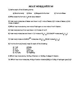 Mole Worksheet 1 Answers by Mole Worksheet 1 By Gary Edelman Teachers Pay Teachers