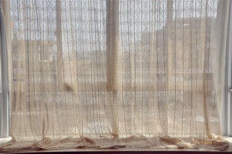 beige lace curtains french country style cotton linen beige hand crochet lace