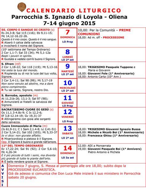 Calendario Giugno 2015 Calendario Liturgico 7 13 Giugno 2015