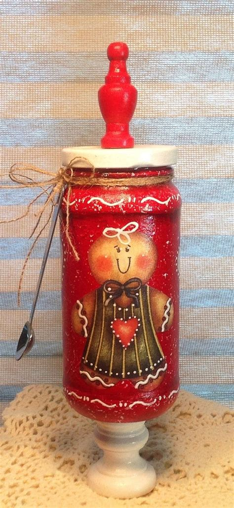 Ginger Home Decor Gingerbread Apothacary Up Cycled Jar Gingerbread Decor