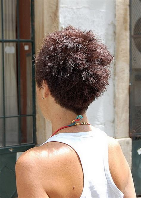 photos of the back of a haircut with a w neckline pixie haircut back of head