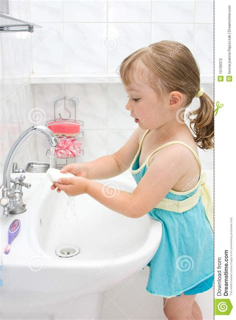 little girls bathroom little girl in bathroom stock photography image 15139372