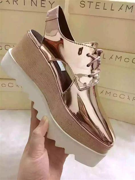Sepatu Stella Mccartney Mirror Quality stella mccartney sandals shoes gold mirror leather wedge platform elyse pumps shoes