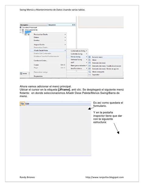 swing menu swing men 250 s y mantenimiento de datos