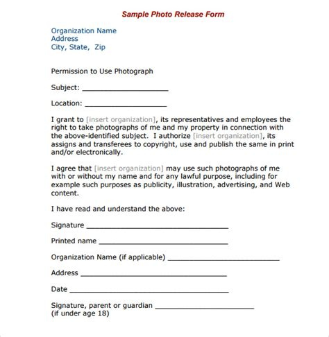 7 Print Release Forms Pdf Sle Templates Photo Print Release Form Template