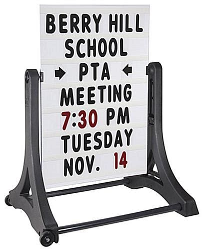 swinging signs swinging sign portable white letter board w handle wheels