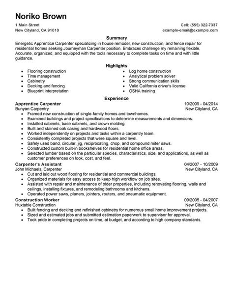 Resume Sle Construction Foreman Canada Carpenter Resume Sales Carpenter Lewesmr
