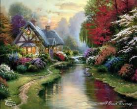 Cross Stitch Cottage by Thomas Kinkade Fine Art Or Marketing Genius Or Both
