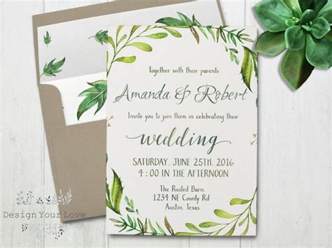 Garden Wedding Invitation Card Template by Printable Greenery Wedding Invitation Printable Green
