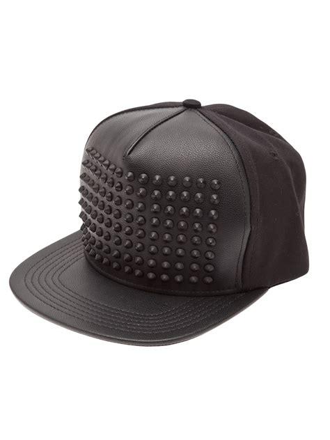 Studded Hat std studded snapback hat in black for lyst