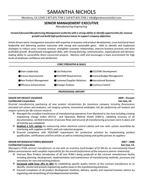 Resume Template Executive Management senior management executive manufacturing engineering resume sle books worth reading