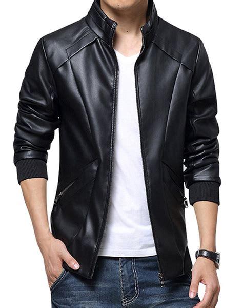 Jaket Semi Kulit Pu Leather Mondy s waist pockets simple black leather jacket