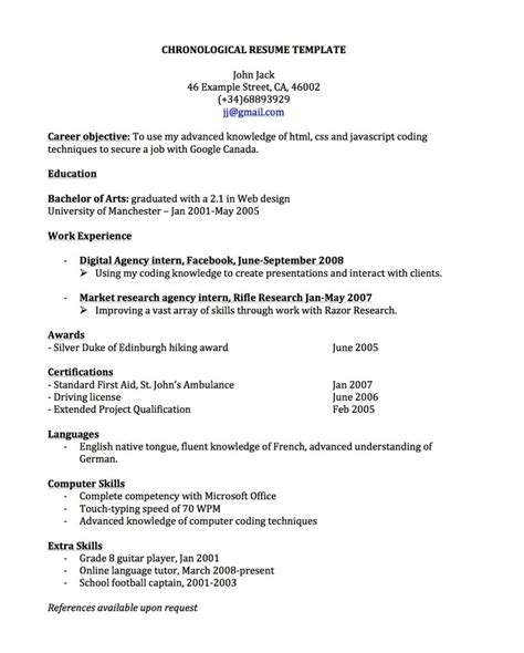 Template For Chronological Resume by Chronological Resume For Canada Joblers