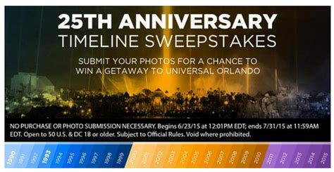 Disney Vacation Club Silver Anniversary Sweepstakes - universal orlando s 25th anniversary timeline quot photo
