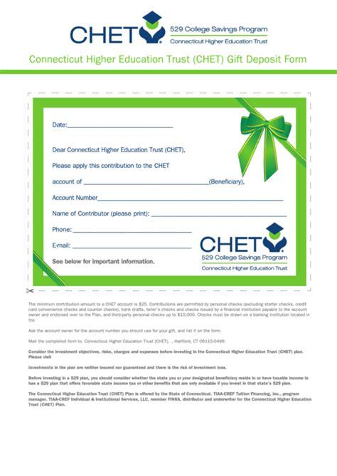 connecticut higher education trust chet gift deposit