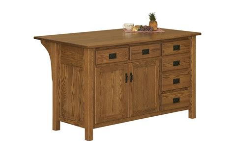 amish arts and crafts kitchen island with drawers on right