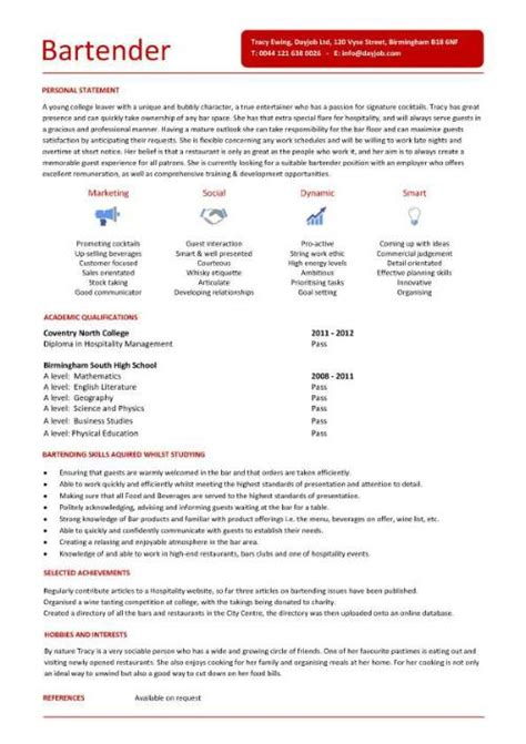 Club Bartender Resume Sle Bar Staff Cv Sle Dining Restaurant Resume Application Cvs