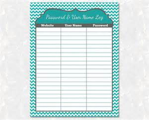 password and user name organizer printable diy instant