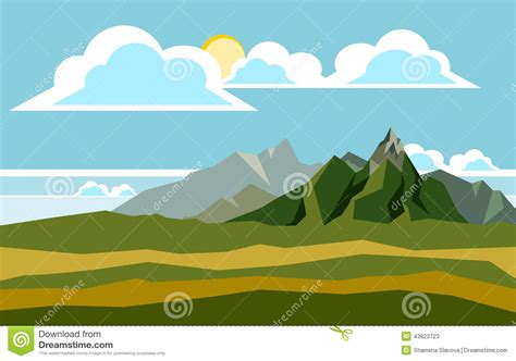 Landscape Illustration Mountain Landscape Illustration Stock Vector Image 43823723
