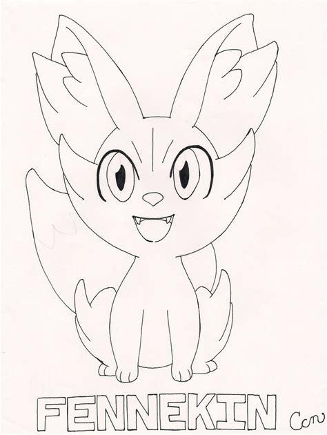 pokemon coloring pages fennekin my starter fennekin line art by koyukitorigirl on deviantart