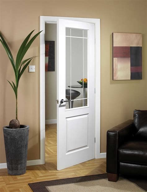 White Half Glass Interior Doors Manhattten Half Light Textured White Primed Door