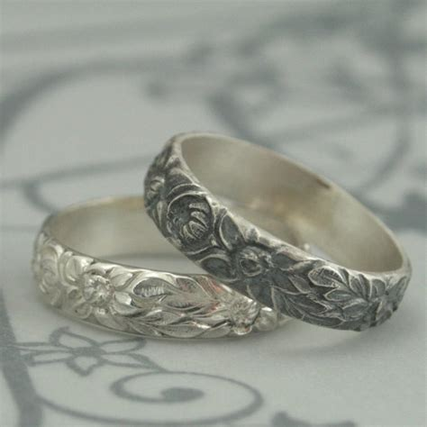 flower pattern ring antique style wedding ring the dahlia band sterling