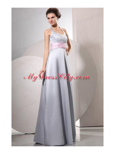 T2b A List Belted Empire Halter Dress by Silver Empire Halter Top Prom Dress With Baby Pink Belt