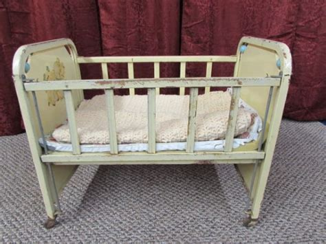 lot detail vintage buttercup yellow doll e crib by amso