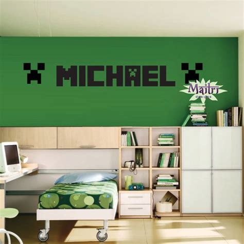 minecraft bedroom decals minecraft creeper inspired wall decal minecraft for my