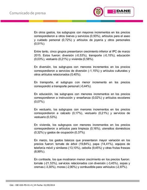valor del ipc 2015 en colombia ipc servicios 2015 ipc marzo 2015 237 ndice del precios al